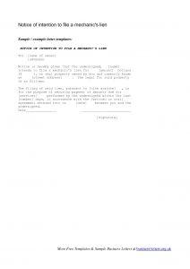 Letter Of Intent to File A Lien Template - Mechanics Lien Letter Template Samples