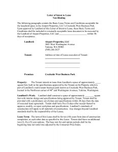 Letter Of Intent to Lease Commercial Property Template - Mercial Real Estate Lease Letter Intent Template Examples