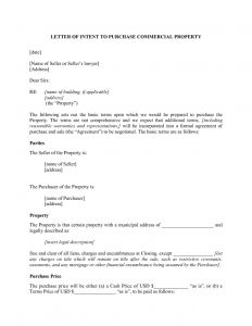 Letter Of Intent to Lease Commercial Property Template - Letter Intent to Lease Mercial Property Template Sample