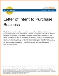 Letter Of Intent to Purchase Business Template - Letter Intent Template to Do Business Save Letter Intent to Sell