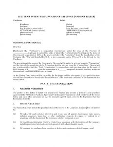 Letter Of Intent to Purchase Business Template - Letter Intent to Purchase Business Template Samples