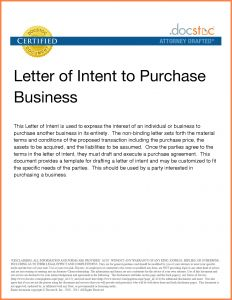 Letter Of Intent to Purchase Business Template Free - Letter Intent to Purchase Business Template Samples