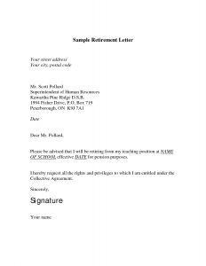 Letter Of Intent to Retire Template - Retirement Letter to Employer Template Download