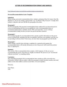 Letter Of Recommendation Free Template - Personal Re Mendation Letter Template Free Samples