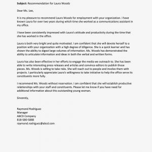 Letter Of Recommendation Template for Job - Write An Employee Re Mendation Letter