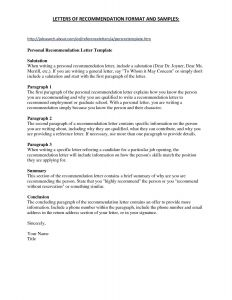Letter Of Recommendation Template Free - Personal Reference Letter Template Free Download