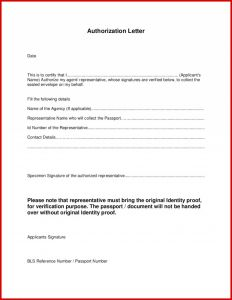 Letter Of Representation Template - Letter Representation format Authorization for Pany
