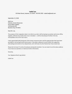 Letter Of Resignation Template Free - Resignation Letter Due to Relocation Examples