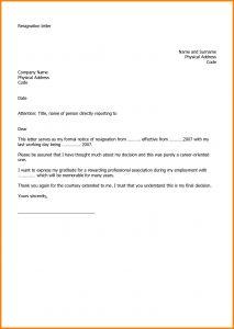 Letter Of Resignation Template Pdf - Letter Resignation Template 2018 Professional Letter format for Job