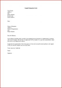 Letter Of Resignation Template Pdf - Impressive Resignation Letter format In English Word Sample for