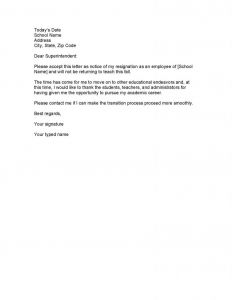 Letter Of Resignation Template Teacher - Letter Resignation From School Best Download Our Sample