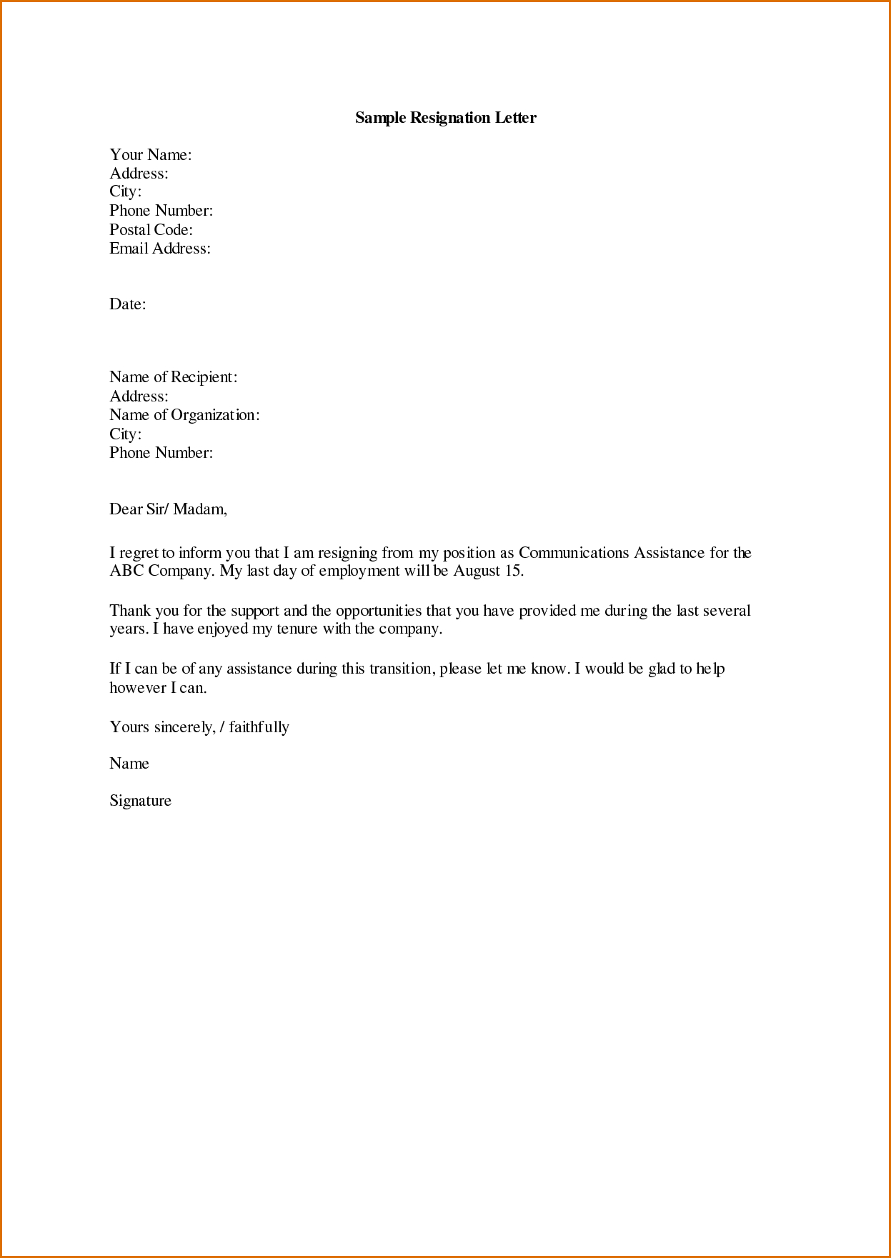 letter of resignation template teacher example-sample displaying 16 images for letter of resignation sample toolbar 11-b