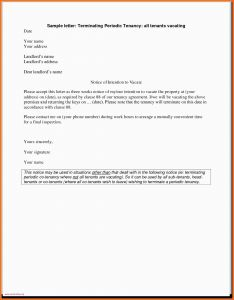 Letter Of Termination Template - Example Letter to Vacate Rental Property 30 Day Notice to Vacate