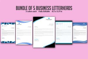 Letter Pad Design Template - Bundle Of 5 Business Letter Head Templates by Ayme Designs