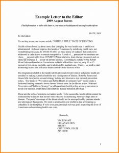 Letter to Editor Template - Letter to the Editor Template