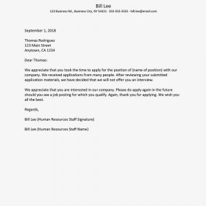 Letter to Elected Official Template - Rejection Letter Sample for Unsuccessful Applicants