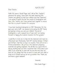 Long Term Sub Letter to Parents Template - Teacher Wel E Letter to Parents Template Samples