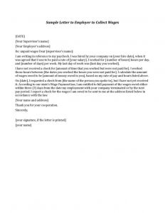 Lost Wages Letter From Employer Template - Sample Letter to former Employer for Unpaid Wages