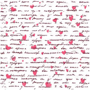 Love Letter Background Template - Love Letter Seamless Background with Handwritten Text and Hearts