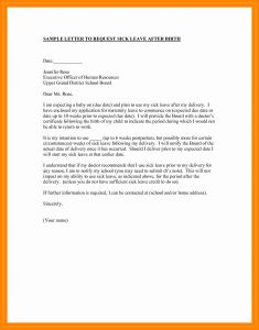 Maternity Leave Letter Template - Sick Leave Letter format School Best Maternity Leave Letter to