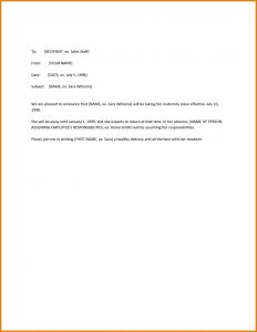 Maternity Leave Letter Template - Maternity Return to Work Letter From Employer Template 2018