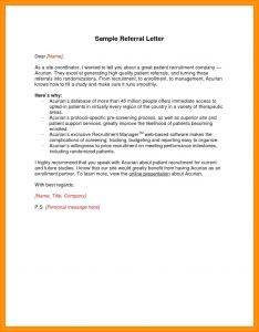 Medical Referral Letter Template - Medical Referral Letter Sample