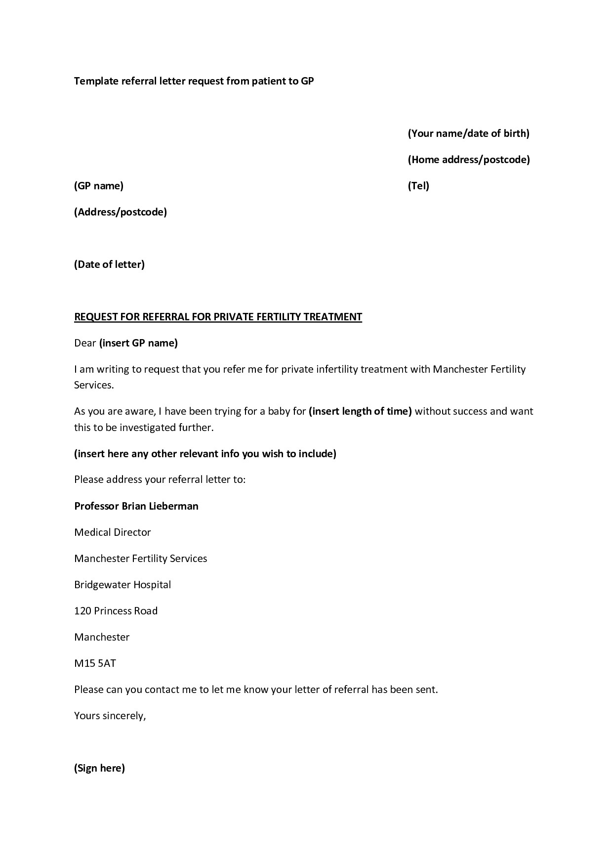19 Medical Referral Letter Template Microsoft Word ...