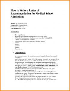 Medical School Letter Of Recommendation Template - Medical Referral Letter Template Sample