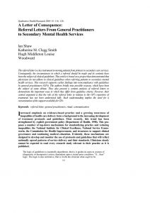 Mental Health Referral Letter Template - Pdf A Letter Of Consequence Referral Letters From General