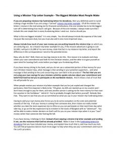 Missionary Support Letter Template - Example Fundraising Letter for Mission Trip
