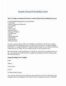Mortgage Hardship Letter Template - Financial Hardship Letter Template Gallery