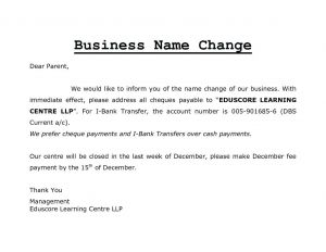 Name Change Notification Letter Template - Change Business Name Letter Template Business Cards Ideas