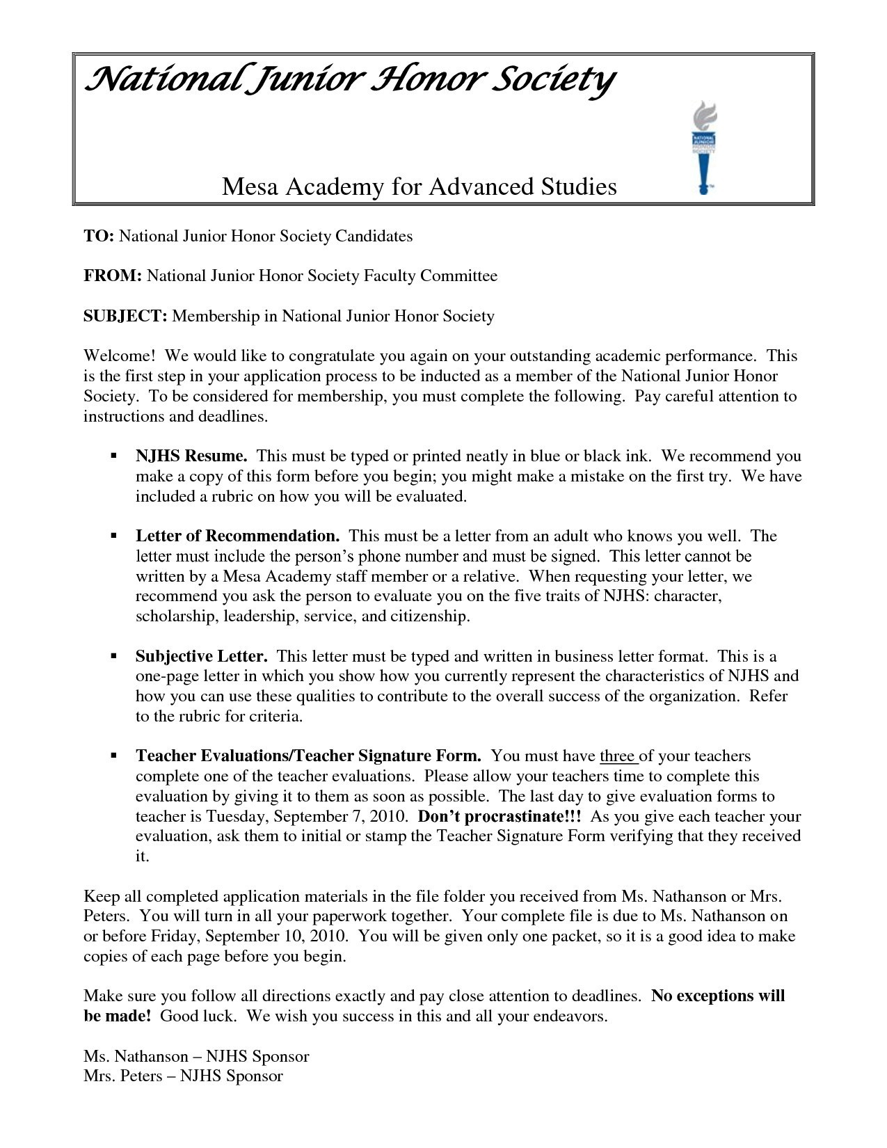 national junior honor society letter of recommendation template national junior honor society essay examples new