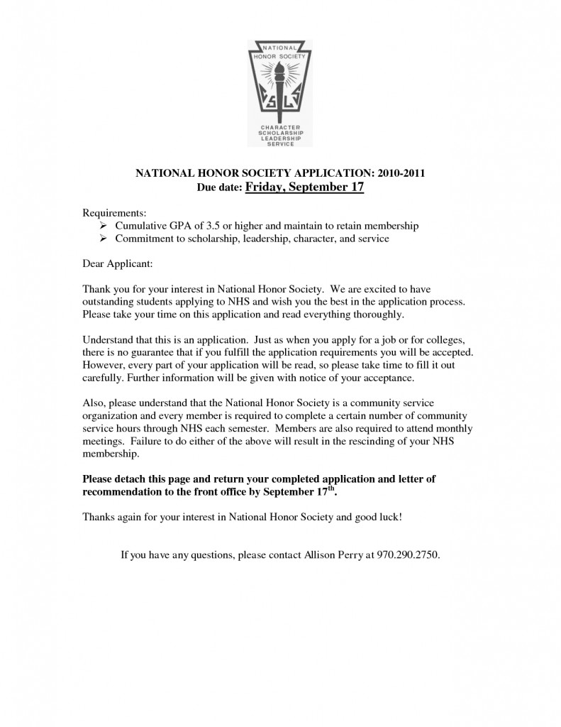 17 National Junior Honor Society Letter Of Recommendation Template
