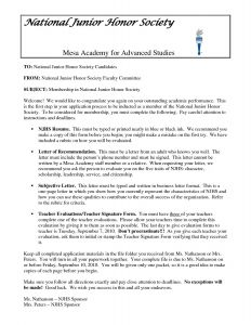 Nhs Letter Of Recommendation Template - National Junior Honor society Essay Examples New National Honor