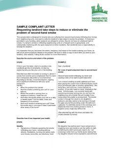 Noise Complaint Letter Template - Plaint to Landlord Letter