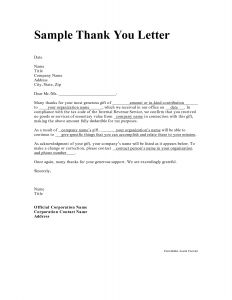 Non Profit Donation Thank You Letter Template - Non Profit Thank You Letter Template Samples