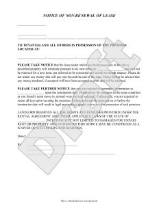 Nonrenewal Of Lease Letter Template - Lease Renewal Reminder Letter Template Gallery