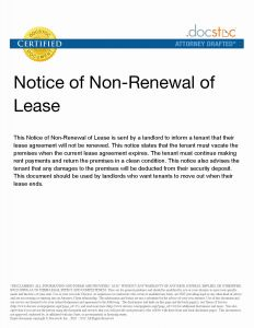 Nonrenewal Of Lease Letter Template - Nonrenewal Lease Letter Template Samples