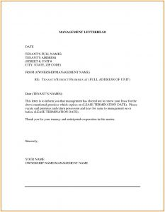 Not Renewing Lease Letter Template - Nonrenewal Lease Letter Template Samples