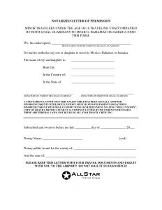 Notarized Letter Of Authorization Template - Notarized Letter Template for Child Travel