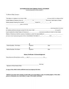 Notarized Letter Of Authorization Template - Letter Consent for Child to Travel Template Sample