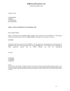 Notice Of Lien Letter Template - Mechanics Lien Letter Template Gallery