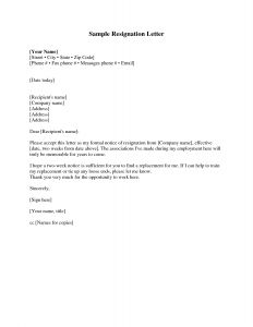 Notice Of Resignation Letter Template - Resignation Letter Sample 2 Weeks Notice Free2img