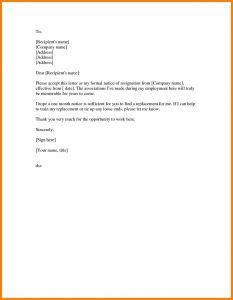 Notice Of Resignation Letter Template - formal Resignation Letter Template E Month Notice Perfect formal