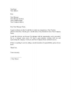 Notice Of Resignation Letter Template - Simple Resignation Letter 1 Month Notice as Sample Letter Of
