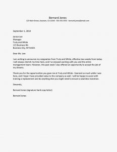 Notice Of Resignation Letter Template - Resignation Notice Letters and Email Examples