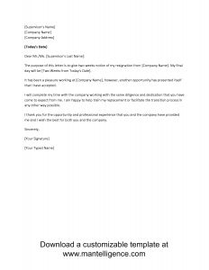 Notice Of Resignation Letter Template - 3 Highly Professional Two Weeks Notice Letter Templates