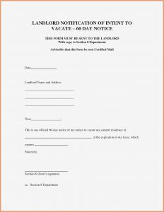 Notice to Vacate Letter Template - Intent to Vacate Letter Template 2018 60 Day Notice Termination