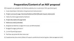 Nsf Letter Of Support Template - Preparation Content Of An Nsf Proposal Nsf Proposals are Uploaded to